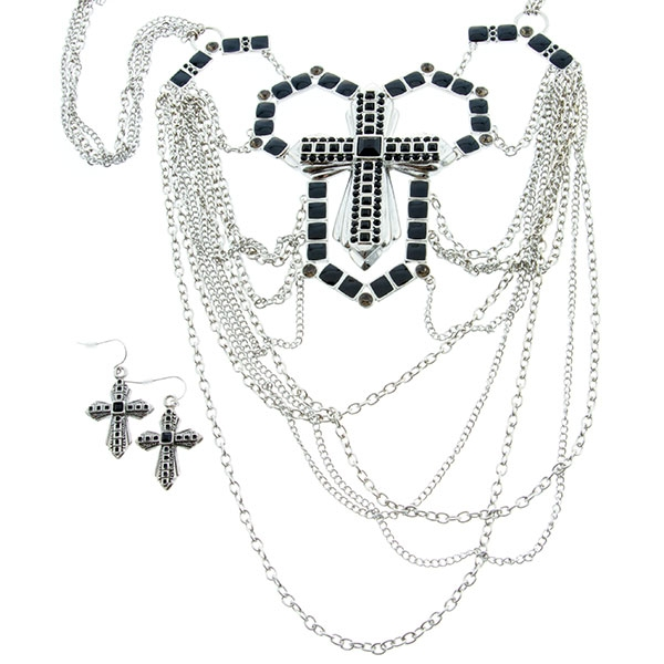 "24"" silver tone multi-chain statement necklace set with cross theme and black onyx accents."