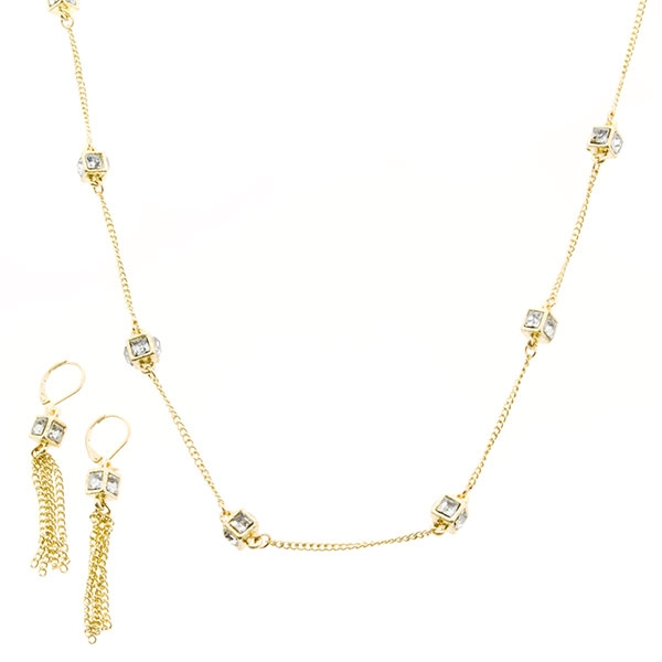 """30"""" gold tone necklace set with linked clear crystal rhinestone rondelles. Comes with matching 2.5"""" tassel earrings"""
