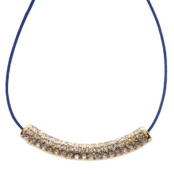 "16"" Royal blue cord necklace with a gold toned crystal rhinestone focal"