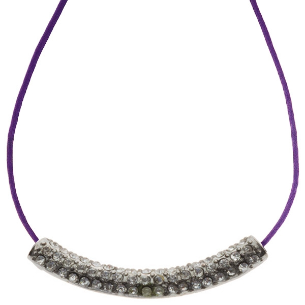 16 inch Purple cord necklace with a silver toned crystal rhinestone focal