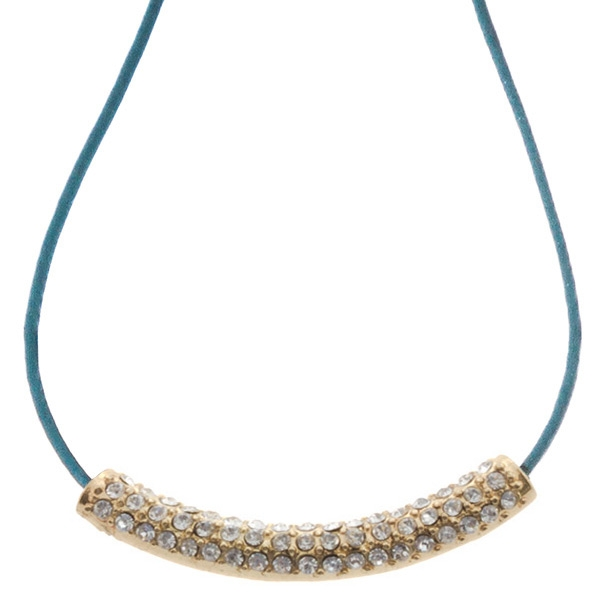 "16"" turquoise cord necklace with a gold toned crystal rhinestone focal"