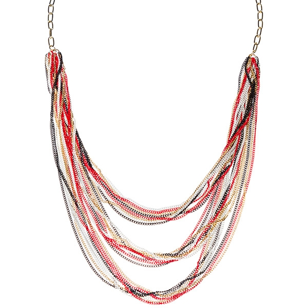 "34"" gold tone rolo chain necklace with 3 rows of multicolored chains."