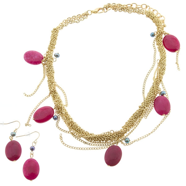 "16"" Polished gold tone twisted chain necklace with fuchsia beaded accents"