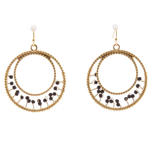 1.25 inch gold toned beaded earrings with jet beads