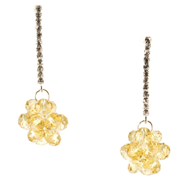 """1 3/4"""" Silver tone post style earrings featuring a line of crystal clear rhinestones accented with a faceted topaz tone beaded ball cluster decor."""