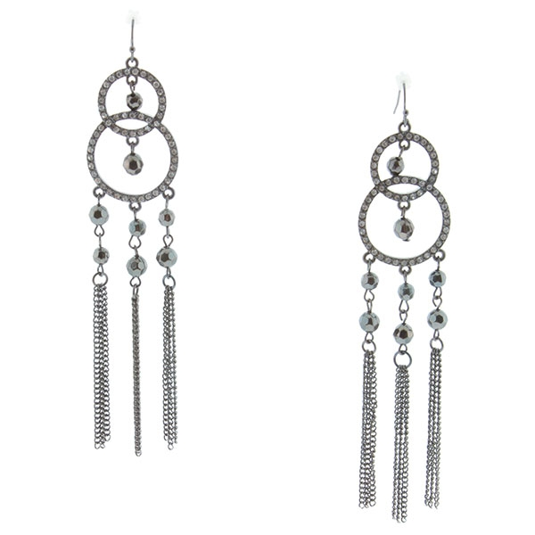 """5"""" Hematite tone fishhook style earrings featuring crystal clear rhinestone studded double circle design accented by hematite tone beads and chained tassels."""