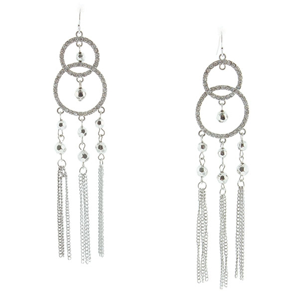 """5"""" Silver tone fishhook style earrings featuring crystal clear rhinestone studded double circle design accented by silver tone beads and chained tassels"""