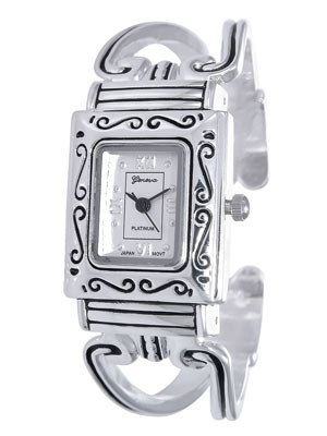 Silver Tone Cuff Watch w/Silver Tone Face, Black Hands and Shiny Silver Tone Roman Numerals