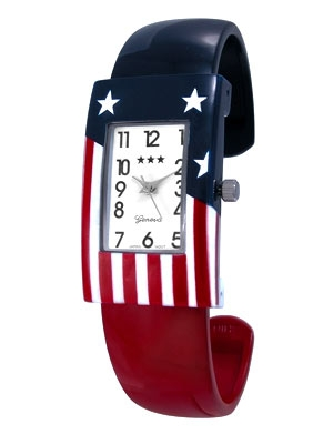 Patriotic Stars and Stripes Cuff Watch w/White Face and Black Numbers (Watch Head is approx. 1.46 in L x 0.88 in W, Face is approx. 0.78 in L x 0.47 in W)