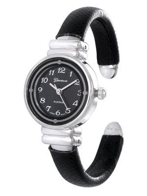 Black Faux Skin Petite Women&#39s or Children&#39s Watch w/Polished Silver Tone Watch Head. Black Dial. White Numbers. 3 Polished Silver Tone Hands. (Watch Head is approx. 1.23 in L x 0.88 in W, 0.58 in Diameter)