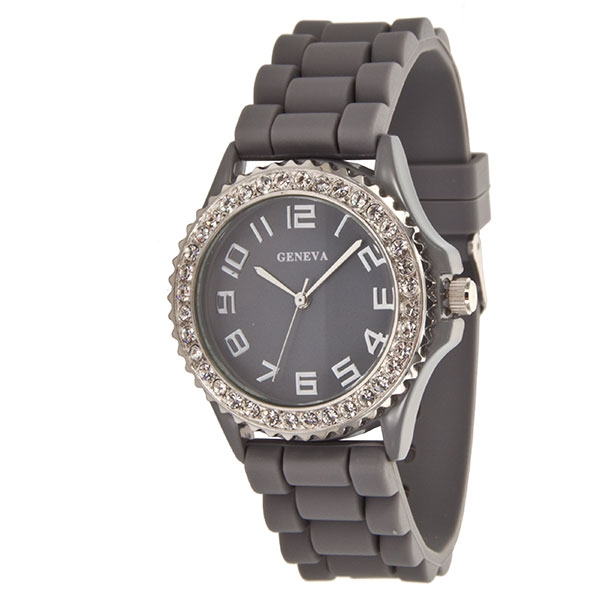 Dove gray silicone band watch with crystal rhinestones.