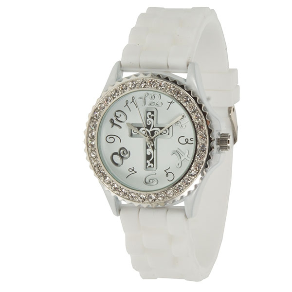 White silicone watch with standard size face featuring a cross motif and surrounded by crystal rhinestones.