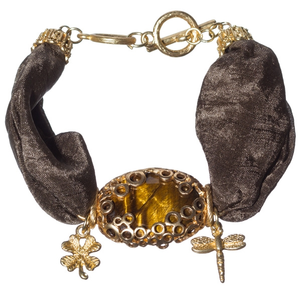Striking brown, satin ribbon, charm, gold tone toggle bracelet with charms of butterfly and insects and featuring oval tiger eye stone focal.