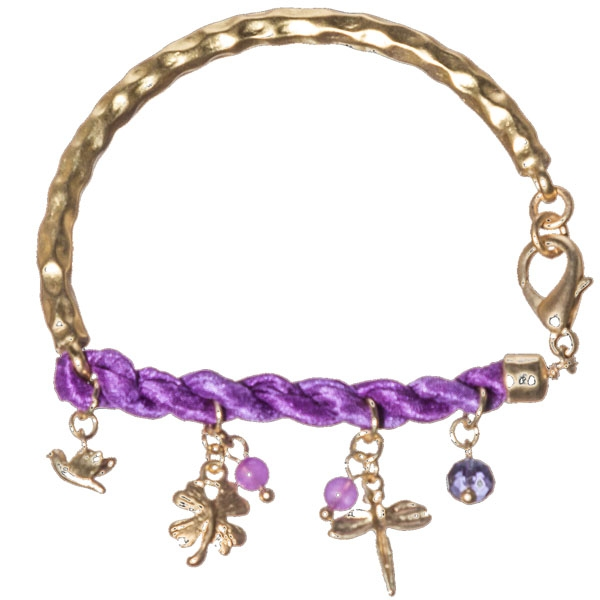 Unique bracelet which is hammered gold tone and featuring purple twisted satin ribbon with dangling assorted charms of bird, dragonfly, butterfly in gold tone, round amethyst beads.