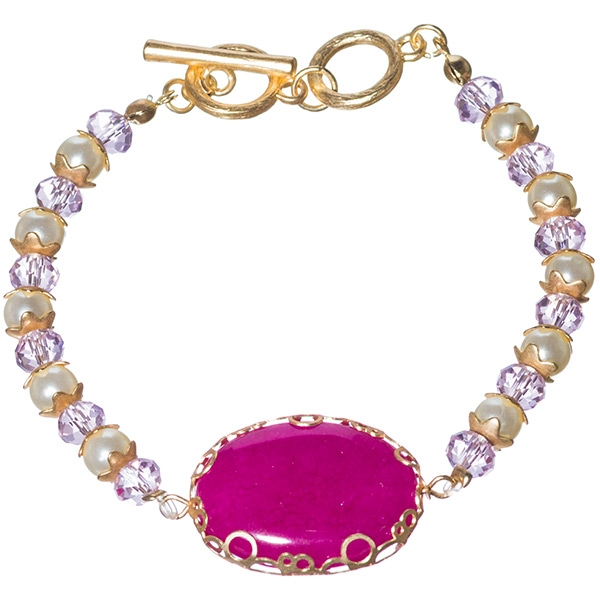 "Gold tone toggle bracelet made with alternating pearl and faceted light pink round crystal beads and featuring 1"" wide oval fuchsia gemstone."