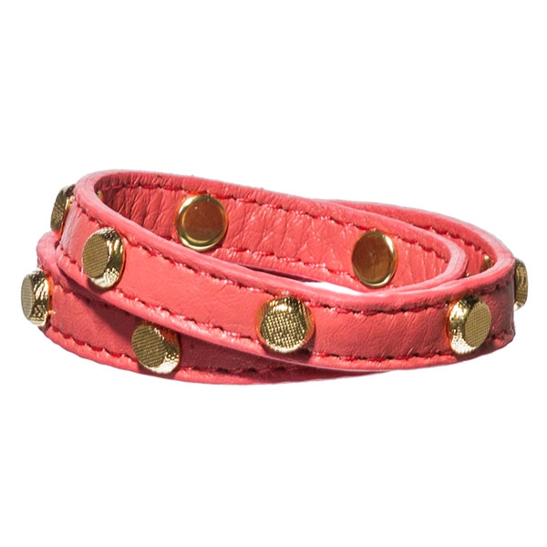 "21"" coral wrap around bracelet features gold tone studs and adjustible closoure."