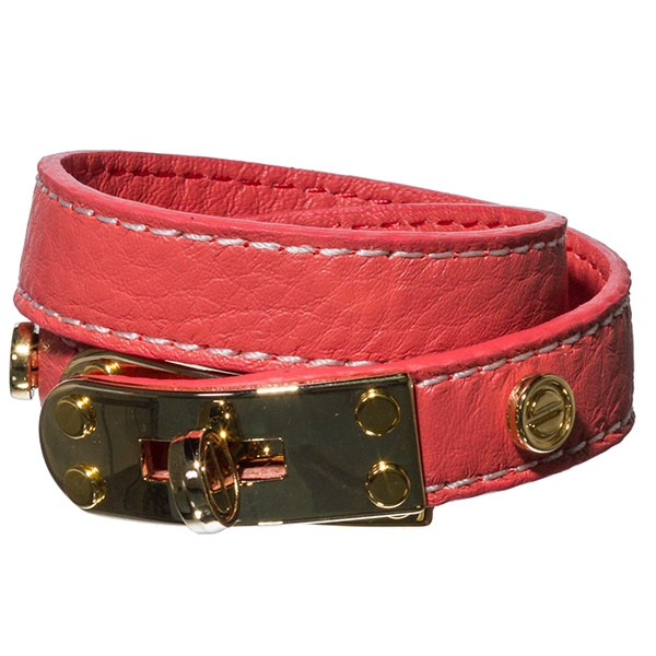 "16-1/2"" coral soft Leather wrap bracelet with 1-1/2"" gold tone turn around lock."