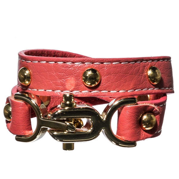"13"" coral designer inspired leather wrap bracelet with 1"" gold tone buckle closure."