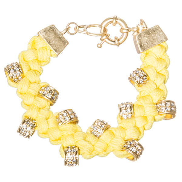 YELLOW BRAIDED ROPE WITH RHINESTONE RONDELLES GOLD CLASP BRACELET