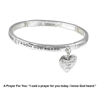 Wholesale polished silver stretch bracelet heart charm engraved Prayer