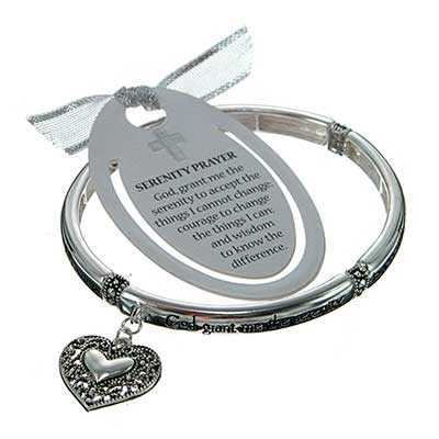 Serenity Prayer Inspirational Bracelet with Heart Shaped Charm. Inscription Reads: God Grant Me The Serenity To Accept the Things I Cannot Change, Courage To Change The Things I can; and Wisdom To Know The Difference. Bonus Matching Bookmark has Silver Fabric Ribbon. Lead Compliant. (Bracelet is Approx. .25 in W)