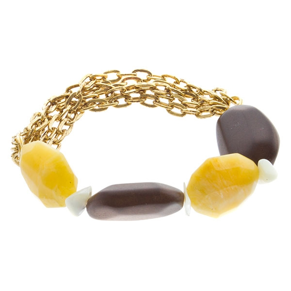 Gold toned multi-chained bracelet with wooden beads and yellow quartz gemstones.