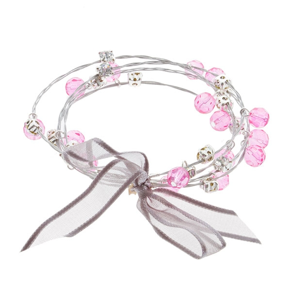 "7.5"" around fuchsia bead and rhinestone 4 strand whimsical illusions bracelet"