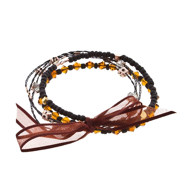 """7.5"""" around black frosted bead and rhinestone with brown bicone bead 5 strand black whimsical illusions bracelet"""