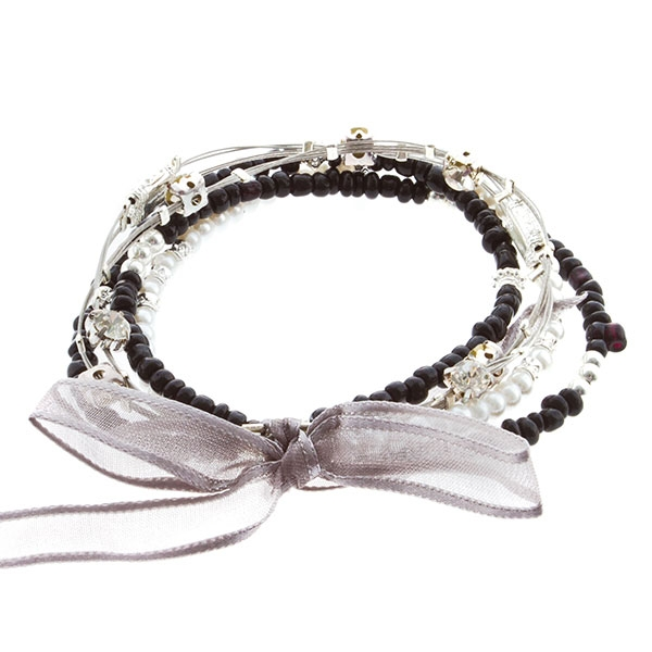 """7.5"""" around black bead and white pearls with silver 5 strand whimsical illusion bracelet"""