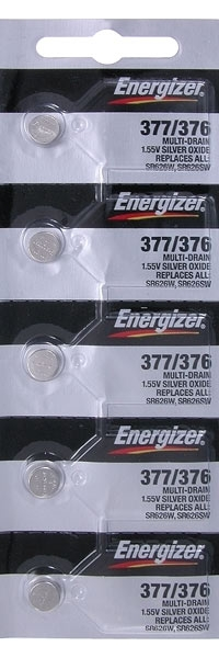 Energizer 377/376 Watch Batteries. 1.55V. Replaces all SR626W, SR626SW (5 Batteries per Pack)