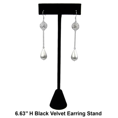 Black Velvet Earring Stand with Weighted Base. Displays 1 Pair of Earrings. (Approx. 6.63 in H). Earrings (#23860) are not included.