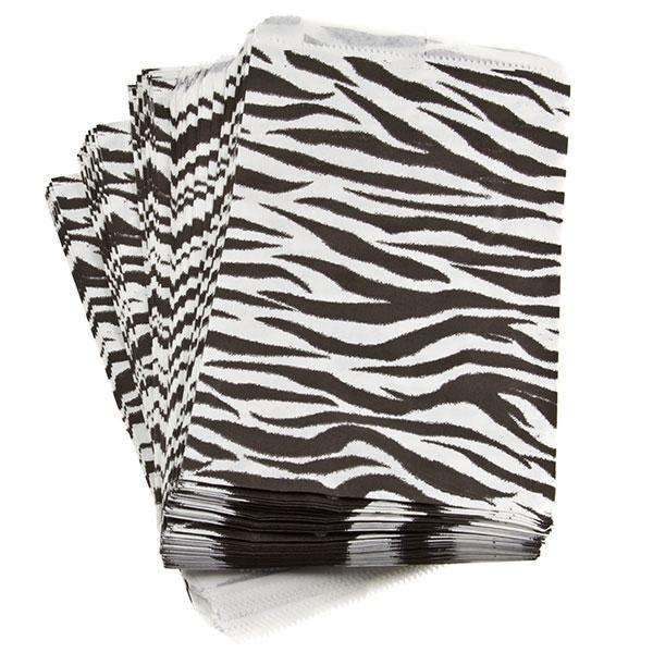 "Zebra print 9"" x 6"" merchandise bags, 100 count."