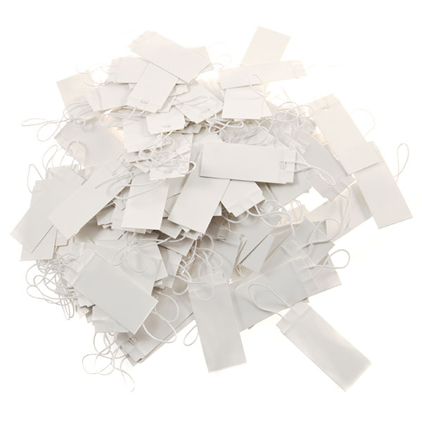 1.5 inch Premium and reusable stretch elastic tags. Make tagging your inventory fast and easy with these heavy cardstock tags. You will receive approx. 100 elastic tags per bag.