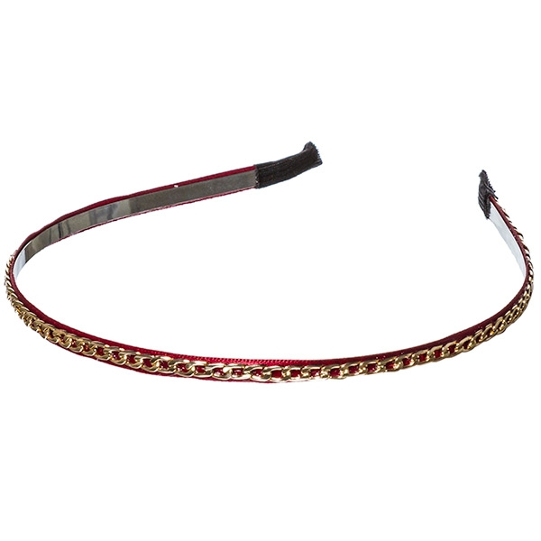 Red ribbon wrapped .25 inch metal headband with a delicate gold toned chain overlay