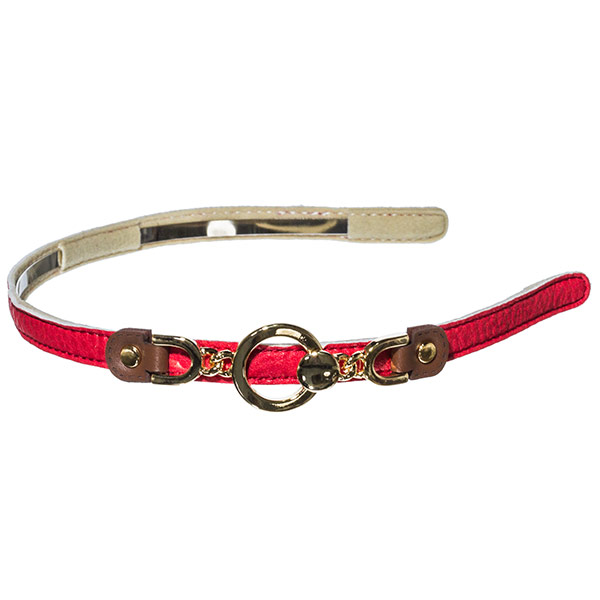Red leather .5 inch metal headband with off centered brown buckle connecting gold toned ring design