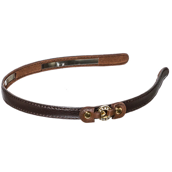 Dark brown colored .5 inch leather covered metal headband with a small brown leather buckle with a small gold toned crystal rhinestone covered ring focal