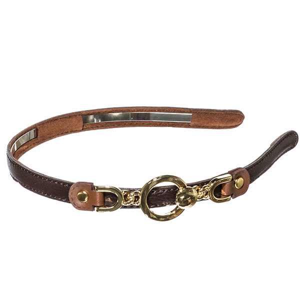 Dark brown leather .5 inch metal headband with off centered brown buckle connecting gold toned ring design