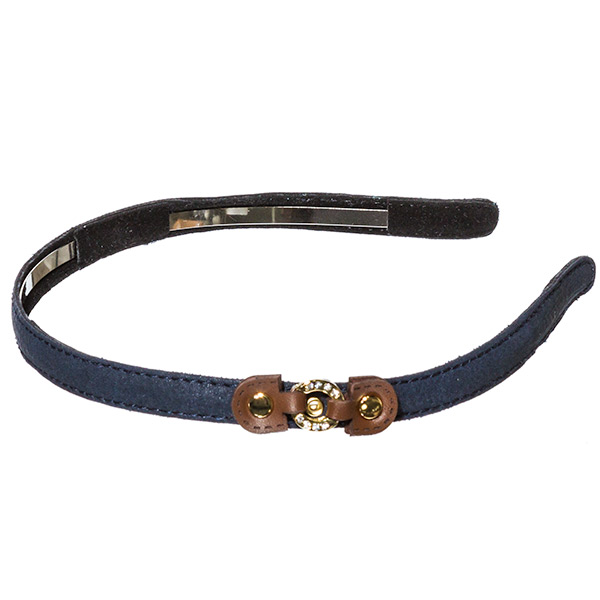 Navy .5 inch leather covered metal headband with a small brown leather buckle with a small crystal rhinestone covered ring focal