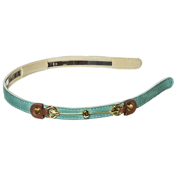 Mint green .5 inch leather covered metal headband with off centered brown buckle connecting gold toned rings and wire.