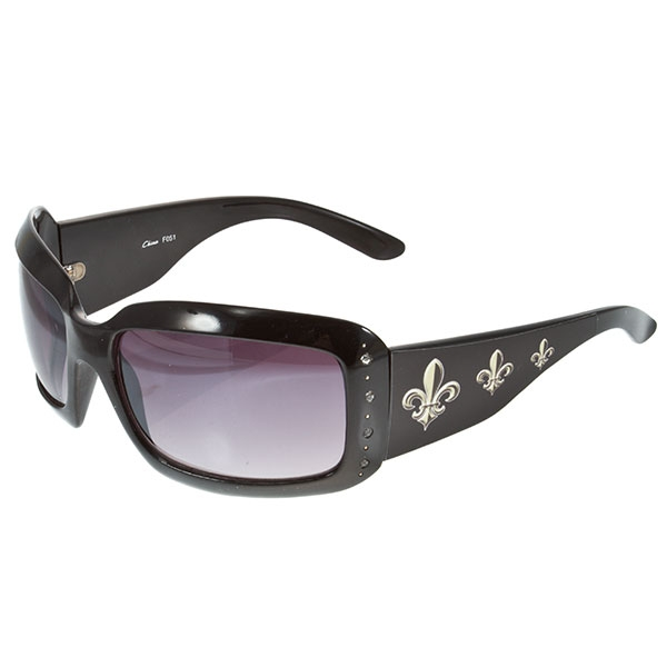 Black fashion sunglasses with a fleur de lis design on the sides and CZ accents
